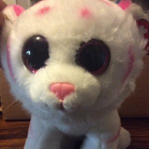 """Other - 11"""" ty beanie white and pink cat Tabor mint tag"""